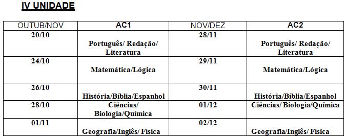 Calendario F2.Calendario De Avaliacoes Iv Unidade F2 Acbv